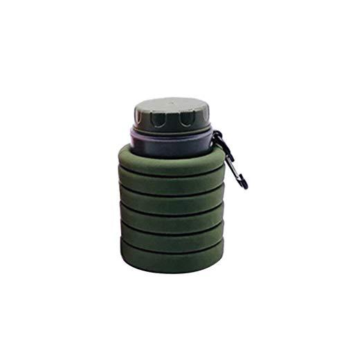 sal008ly7far Outdoor-Sportarten Faltbare Wasserflasche Silikon Sportreiseflaschen Tragbare Auslaufsichere Silikon-Trinkflasche Faltbare Wiederverwendbare zum Laufen Gehen Camping Wandern Green
