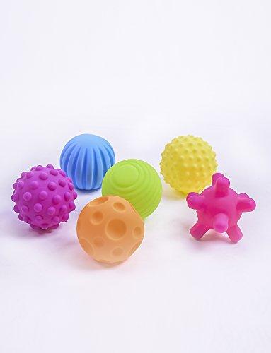 Konig Kids BPA-frei Sensorisch & strukturiert Multi-Form-Babyballspielzeug mit Hellen Farben und BB-Sounds 6er-Pack