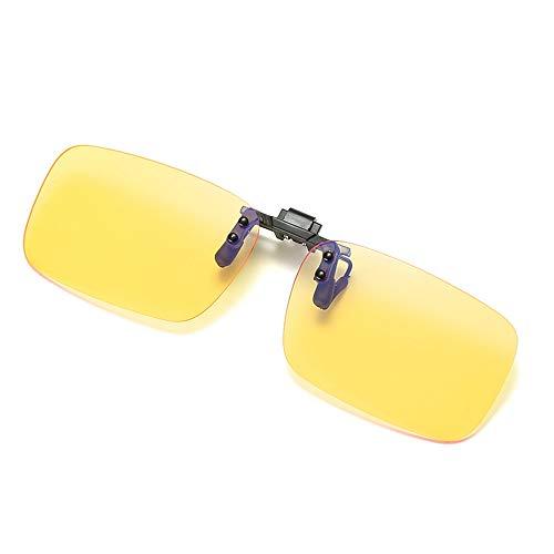 QYY Blaulichtfilter-Computerbrille, Anti-Blau-Clip-Spiegel für Myopiebrille, Anti-Strahlungs-Schutzbrille/Esport- / Nachtsichtbrille mit Klappglas,A
