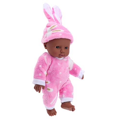 Baoblaze 12 Zoll Weichkörperpuppe Weichkörper Babypuppe Puppen mit Kleidung, Höhe: 30cm, dunkelhäutig
