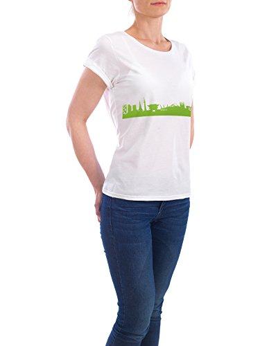 """Design T-Shirt Frauen Earth Positive """"TOKIO 01 grüner Skyline-Print"""" - stylisches Shirt Abstrakt Städte Städte / Tokio Architektur von 44spaces Weiß"""