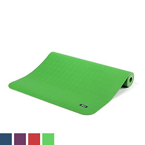 BODHI extrem rutschfeste Yogamatte ECOPRO aus 100% Natur-Kautschuk (185x60cm, 4mm stark, 1,6kg), schadstofffrei für Yoga, Pilates & Fitness, grün -