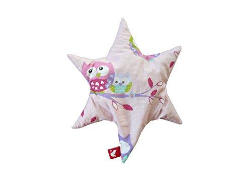 Linden 36142 - Cojín de semillas, forma de estrella, diseño de búhos, color rosa