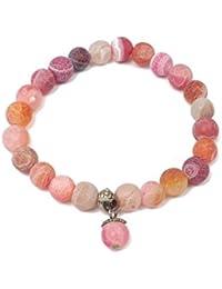 Valijas están hechas bijou - pulsera brazalete de piedra natural con Colgante - Mujer - Colour Scmuck bala - Rosa - Rosa