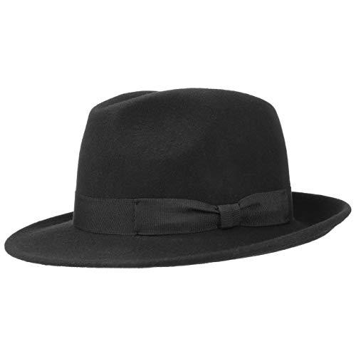 Filzhut | Bogarthut aus 100% Wollfilz | Wollfilzhut Damen/Herren | Fedora Made in Italy | Hut Sommer/Winter | Wollhut schwarz XL (60-61 cm) ()