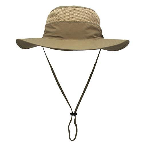 Outfly Wide Brim Sonnenhut Mesh Bucket Hut Leichtgewicht Bonnie Hut Perfekt für Outdoor-Aktivitäten, Verschiedene Farben (Dark khaki)