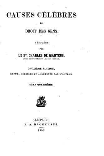 Causes célèbres du droit des gens - Tome IV