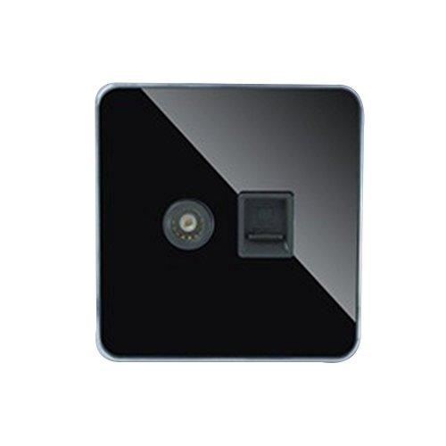 Dimmer intelligenter Lichtschalter, Wandschalter, wasserdicht, LED, Lichtschalter, alternativ, Glas Kristallglas, Schwarz, neue Steckdose (für Fernseher + PC) x 1