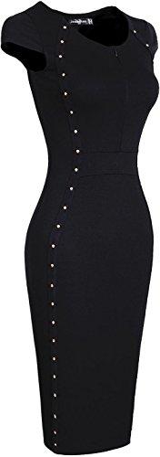 jeansian Damen Bodycon Fashion Cocktail Evening Gowns Party Pencil Casual Slim Dresses WKD192 Black