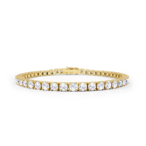 Diamant im Stardust-Schliff Damen-Armband - 19cm - Silber - Gelbgold