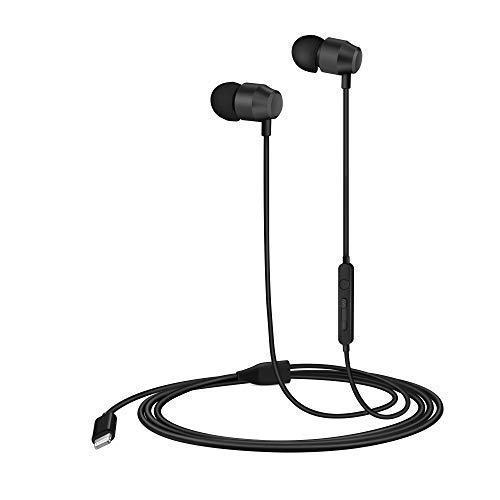 Palovue earflow cuffie lightning magnetica certificato mfi controller con microfono compatibile con iphone x iphone 8/p iphone 7/p (nero metallizzato)