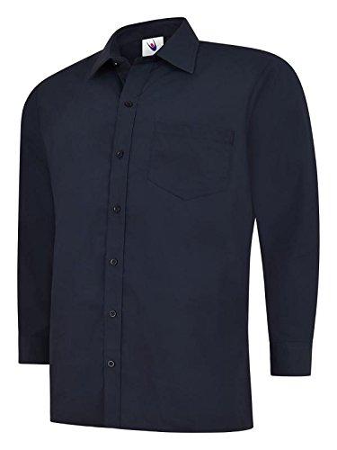 Herren Langärmeliges Popeline-Hemd Casual Formale Business Arbeit Uniform Sicherheit uc709 Gr. xxxxl, Blau - Navy (Blaue Arbeiten Navy Uniform)