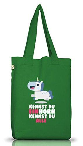 Unicorn Jutebeutel Stoffbeutel Earth Positive mit Kennst Du Einhorn kennst Du alle Motiv Moss Green