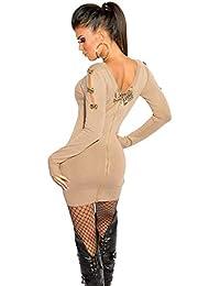 69959d3b876 Firstclass Trendstore schönes Strickkleid mit Schleifen und Reißverschluß    Minikleid Abendkleid Longpullover…