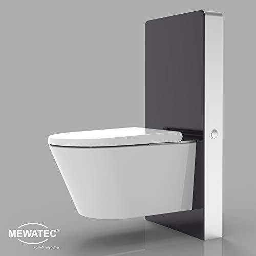 MEWATEC Marken Sanitärmodul für Wand-WCs | Markenqualität | MagicWall Touch Spülwand Premium-Spülkasten Vorwandelement - Preis-Leistungs-Sieger (schwarz)