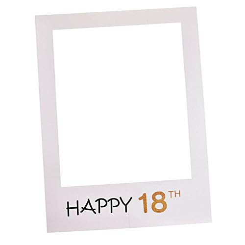 HITSAN INCORPORATION DIY Paper Picture Cutouts Photo Frame Booth Props 1st/16/18/21/30/40/50/60th Photo Frame Booth Props Happy Birthday Party #11 Color 18