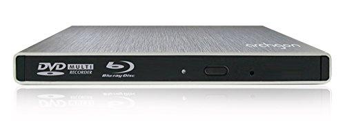Archgon Externer Blu-ray Brenner Player USB 3.0 BDXL M-Disk DVD Star, slot load disc drive Panasonic UJ-272, Aluminium silber - kompatibel mit PC und Mac Macbook Pro, Air, iMac