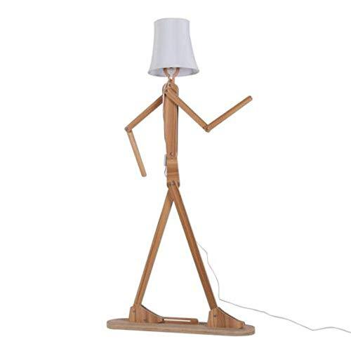 YYQ Holz Original 1,6 Mt Moderne Stehlampe Dekoration Stehlicht Variety Charakter Modellierung Schatten Leinen Für Schlafzimmer Wohnzimmer (Dunkelbraun + Schwarz),Natural