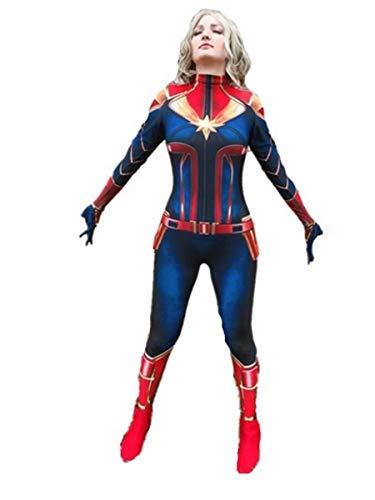 Fanessy. Avengers: Endgame Movie Captain Marvel Bodysuit Überraschung Captain Spandex Uniform Jumpsuits Captain Marvel Kostüm Damen Weihnachten Halloween Show Cosplay Kostüm (Avenger Kostüm Frauen)