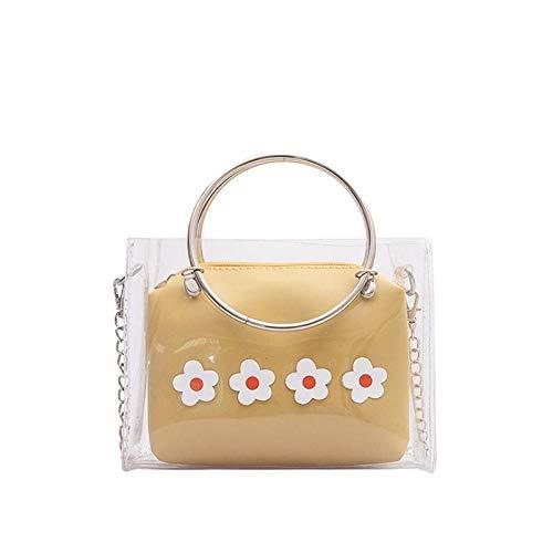 Handtasche Damenhandtasche Mode Transparent Blumendekor Allgleiches Einfaches Bag-One Size_Yellow