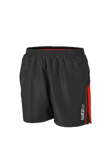 James & Nicholson - Shorts Mens Running Trunk, Pantaloncini sportivi Uomo, Rosso (Black/Tomato), X-Large (Taglia Produttore: X-Large)