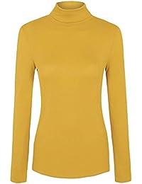 Islander Fashions Mujer Polo Acanalado Polo Cuello Alto Camiseta Damas de  Invierno Camiseta de Manga Larga 4dc186c2dbe69