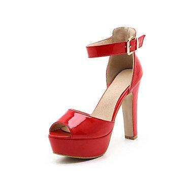 LvYuan Da donna-Sandali-Matrimonio Ufficio e lavoro Formale-Club Shoes-Quadrato-Vernice PU (Poliuretano)-Nero Rosso Bianco Tessuto almond almond