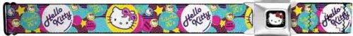 "B & D Hello Kitty Seatbelt Belt - Hello Kitty Faces ""Totally 80s"" w/ Pink Circles"