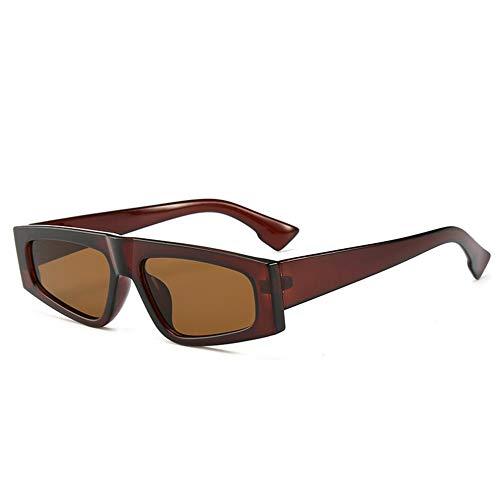 DFBUB Quadratische Sonnenbrille Retro Flat Top Frame Brille Männer Korean Cool Cool Fan Sonnenbrille Männer, Braun