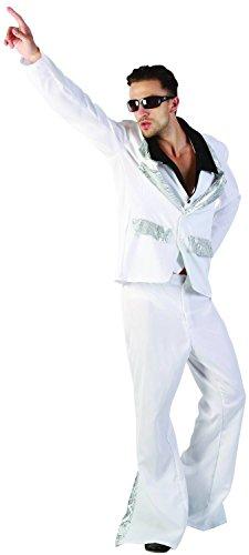 Costume da disco bianco e argento per uomo Taille L