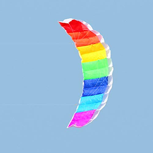 Emilyisky 1.4m Rainbow Dual Line Kitesurfing Stunt Paracaídas Soft Parafoil Surf Kite Sport Kite Actividad al Aire Libre Beach Flying Kite Rainbow