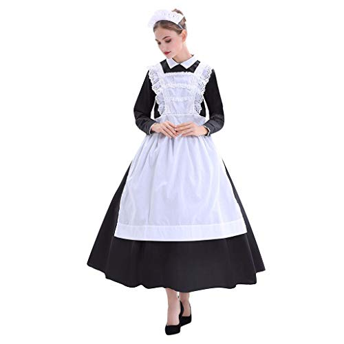 Für Günstige Kostüm Verkauf - Sisifa Dienstmädchen Kleid Frauen Halloween Farm Maid Kostüm Stage Cook Kostüm Kleid Party Cosplay Festival Dienstmädchen Kleid