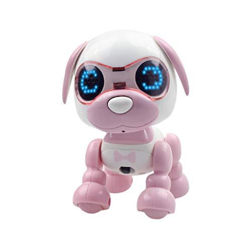 Oasics Intelligenter Roboter ,Interaktiver intelligenter Welpen-Roboter-Hund LED Augen Tonaufnahme singen Schlaf nettes Spielzeug für Jungen und Mädchen (Rosa)