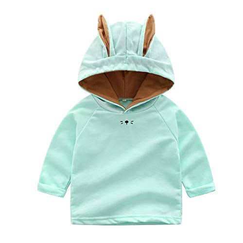 Kobay Kinder Jungen Mädchen Cartoon Rabbit Ears Hooded Tops Sweatshirt(6-12M,Grün) -