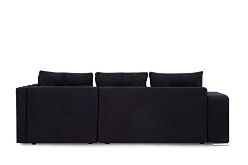 B-famous Jonas Ecke PUR Polsterecke mit Bettfunktion und Bettkasten Ecksofa, Stoff, schwarz, 162 x 226 x 64 cm - 6