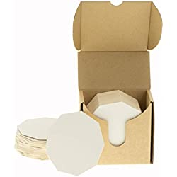 ZEZAZU 11 cm de diamètre Lot de 50 dessous de verre en carton blanc épais pour boissons, projets de bricolage, papier lettre, carrelage zen et mini planche d'art, blanc, Coasters