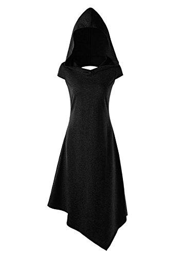 Pommaxe Damen Gothic Kleid Karneval Kostüm Cosplay Kurzarm Hoodie Sommer Schnürung Rückenfrei Kapuzen Party Minikleid