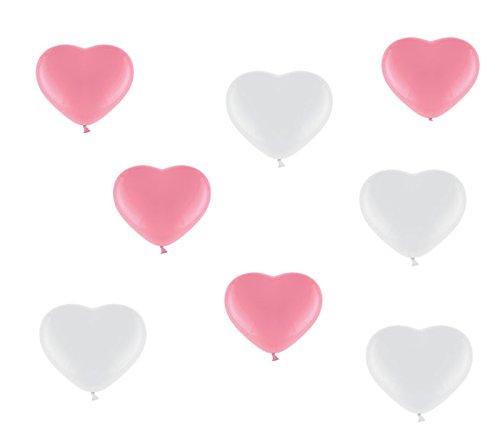 50 Premium Herzluftballons je 25 Weiß 25 Rosa - ca. Ø 26cm - Made in Germany nach EN 71 - Farben Rosa und Weiß - Herz Luftballons Heliumgeeignet - Top Qualität - twist4® …
