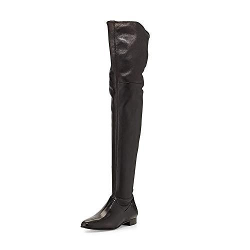 CYMIU Flache Block Ferse Stiefel Damen Winter Plus Samt Stiefel Overknee Stiefel Runde Kopf Wasserdichte Seite Kurze Reißverschluss Schwarz Grau Große Größe Schuhe, Black -