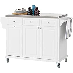 SoBuy® FKW33-W Küchenwagen mit Edelstahlplatte, Küchenschrank, Kücheninsel,Servierwagen, Rollwagen, mit Ablage für Mülleimer, Abfalleimer