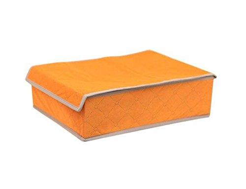 1 UNIDS 24 Células Naranja No Tejida Fibra de carbón de bambú Grueso Sujetador Caja de Almacenamiento Plegable Ropa Interior Calcetines Corbata con Tapa Caja de Acabado para Sala de Estudio