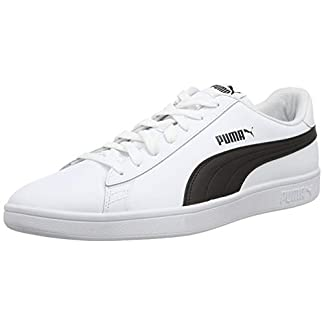 PUMA Unisex-Erwachsene Smash v2 L Sneaker, Weiß White Black, 43 EU 1