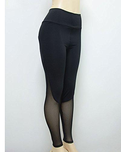 Donna Della Maglia Allenamento Leggings Pants Yoga Fitness Palestra Pantaloni Nero