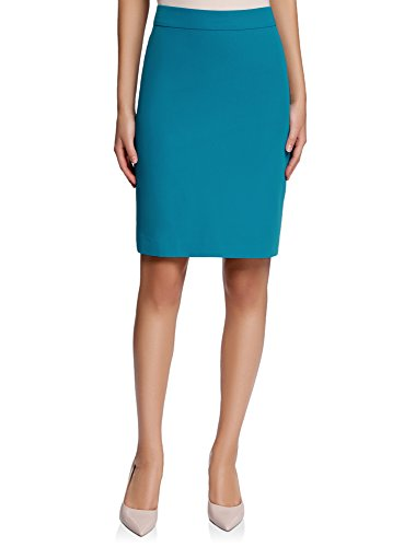 Oodji collection donna gonna basic dritta, turchese, it 44 / eu 40 / m