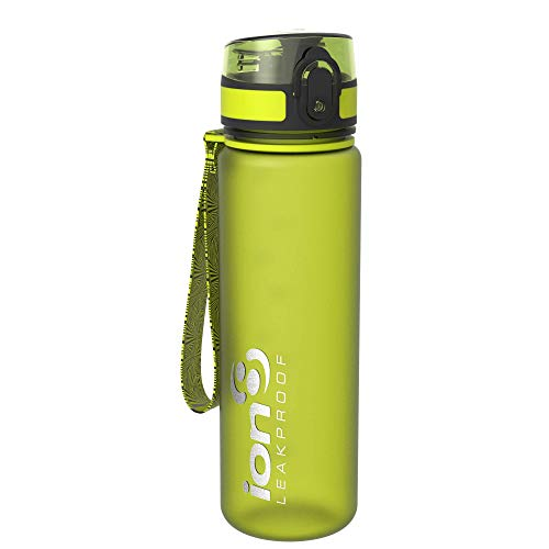 Ion8 auslaufsichere schlanke Wasserflasche / Trinkflasche, BPA-frei, 500ml / 18oz, Grün (Frosted Green)
