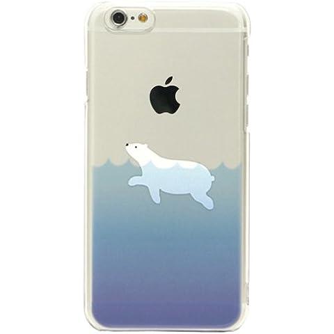 Cover iPhone 5/5S, TrendyBox Cute Case Cover per iPhone 5S 5 + 0.3mm Vetro Temperato Pellicola Protettiva + Gufo Cinghia Telefono (Nuoto Orso Polare)