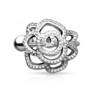 bungsa® Rose orecchino Ear Cuff con cristalli (Roses orecchini Conch Piercing finto anello Clip On Orecchini Argento Orecchini Gioielli Uomo donne donna mode)