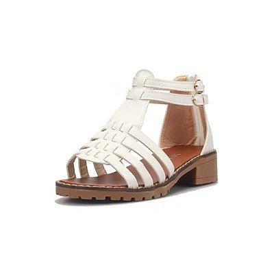 LvYuan Damen-Sandalen-Büro Kleid Lässig-PU-Niedriger Absatz-Komfort-Schwarz Weiß Grau Beige gray