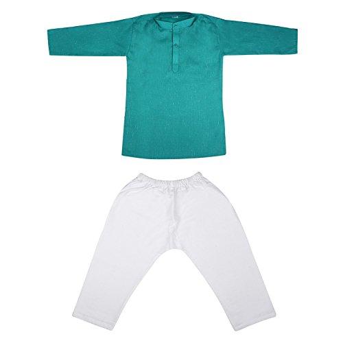Littly Khadi Style Ethnic Wear Kids Cotton Kurta Pyjama Set for Baby Boys (Sea Green, 1-2 Years)