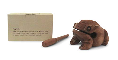 Wooden Croaking Frog Güiro in Gift Box - Fair Trade Percussion Instrument (16cm long)